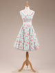50s Hepburn Vintage Floral Print Sleeveless Prom Dress