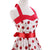 Vintage Halter Cherry Print White Summer Dress With Belt