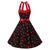 50s Red Halter Cherry Print Black Swing Prom Dress