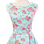 50s Retro Lady Floral Print Mint Green Dress