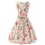 Hepburn Style Sleeveless Peony Print Beige Dress With Belt