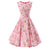 50s Vintage Rockabilly Floral Print Pink Swing Dress
