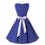 Retro White Polka Dot Blue Party Dress With Belt