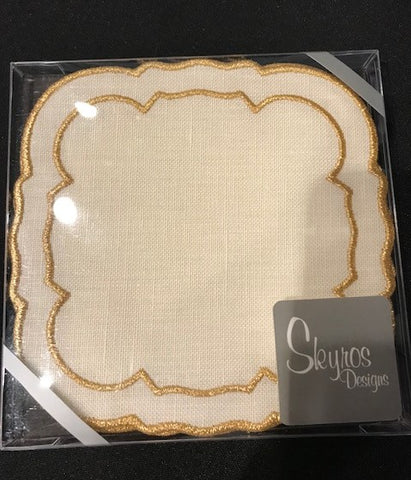 Linho Coaster Square Ivory Gold Set of 4