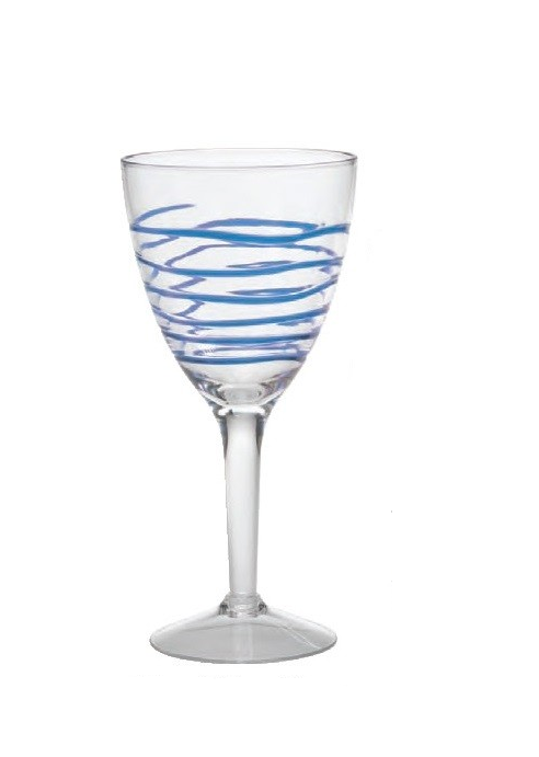 Blue Swirl Wine Glass