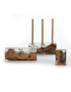 Teak & Clear Resin Three Candle Holder