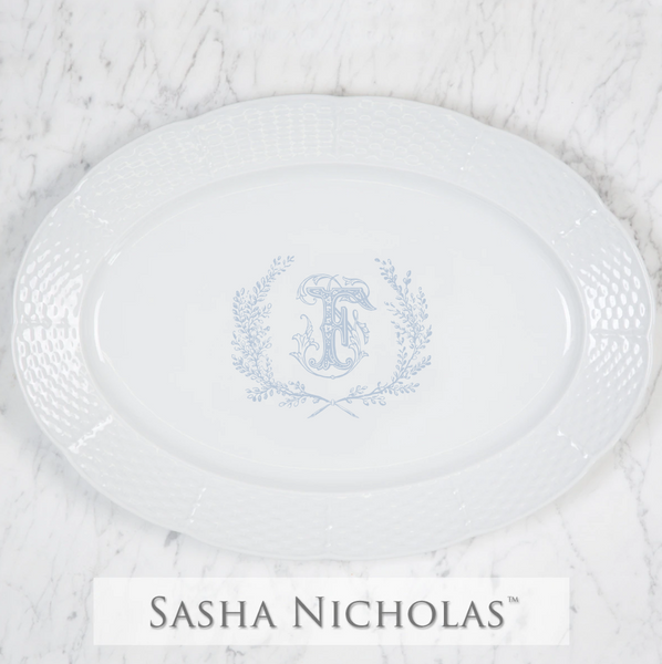 Weave White Oval Platter With Crest And One Letter Monogram 14""