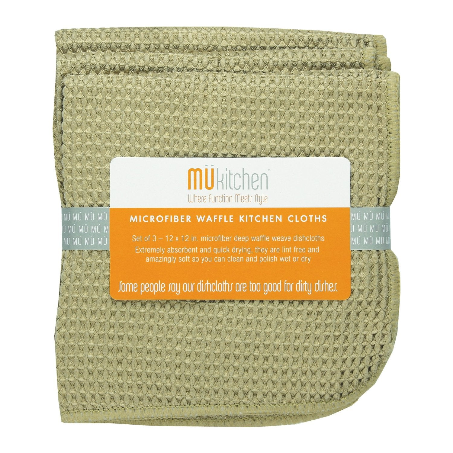 Microfiber Waffle Dishcloth Set of 3 Pebble