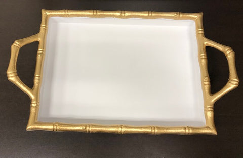 Bamboo Tray 10x14 White -Gold