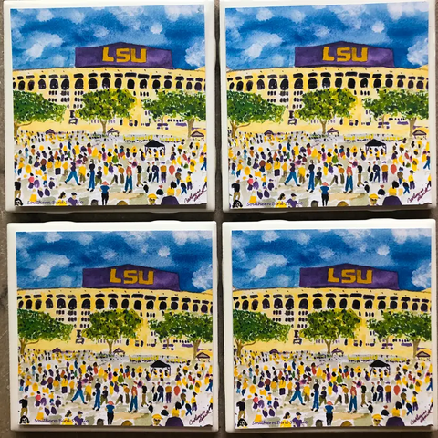 LSU Tiger Stadium Coasters Set of 4