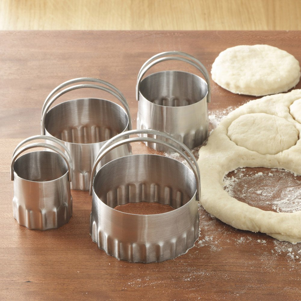 Round Biscuit Cutters Rippled S/ 4