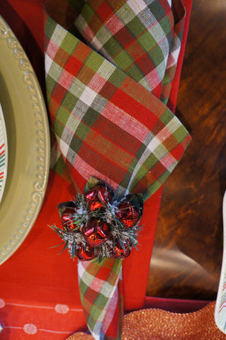 Holiday Napkin Rings Jingle Bell Red