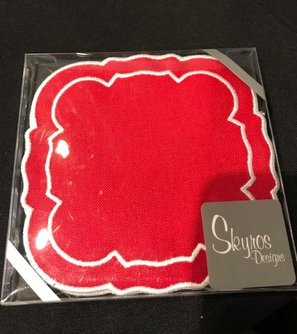 Linho Coaster Square Red White Set of 4