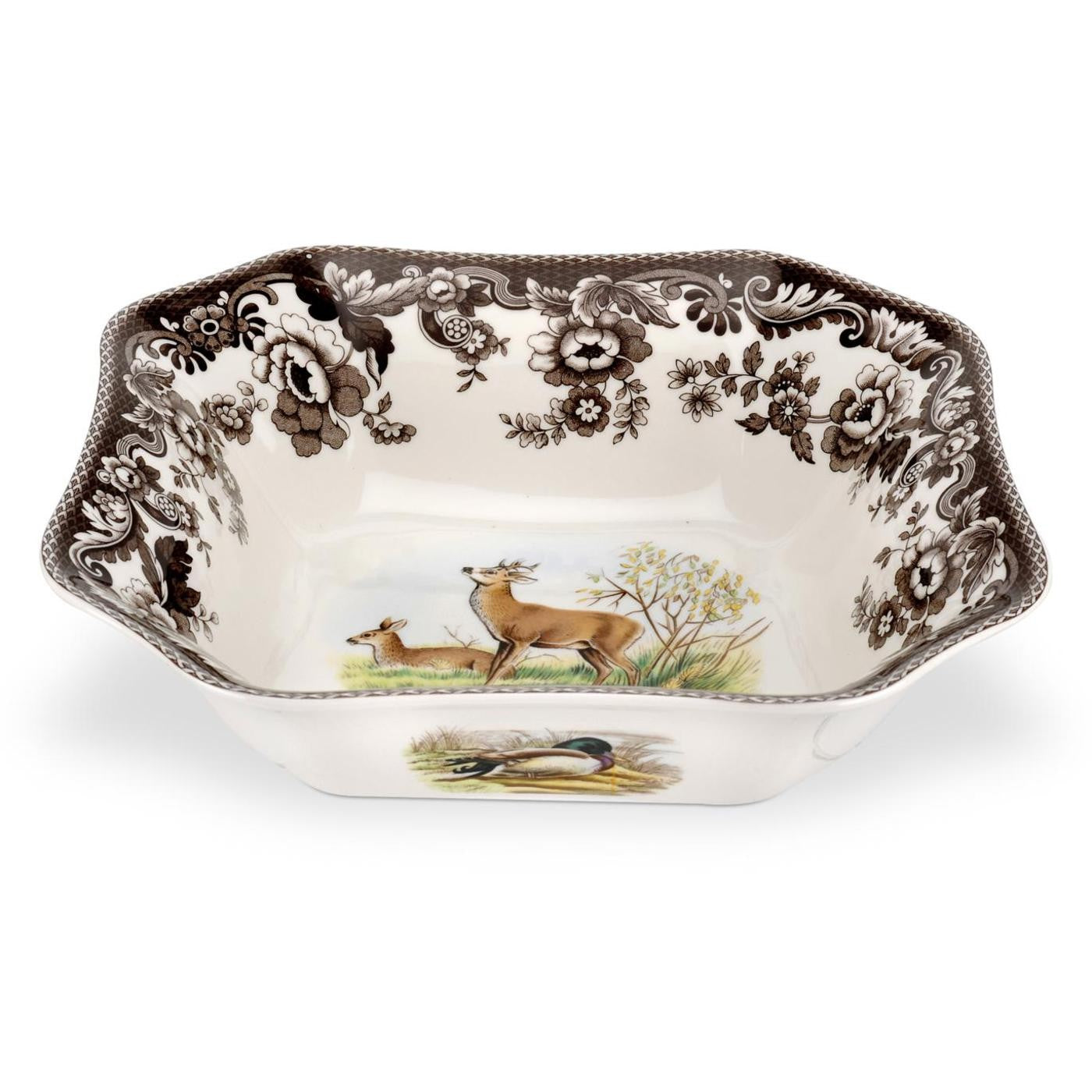 Woodland Sq Serving Bowl -Deer