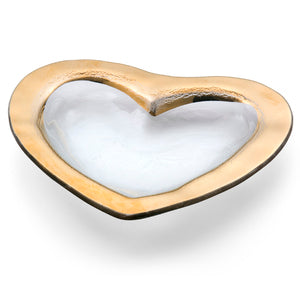 "8""Heart Bowl W/ Gold Thick Band"
