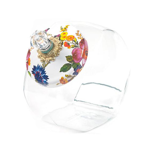 Flower Market Cookie Jar Enamel Lid White