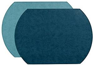 Gallery Vinyl Oval Placemat Lagoon/Seafoam Reversible