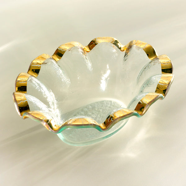 Ruffle Gold Oval Dip Bowl