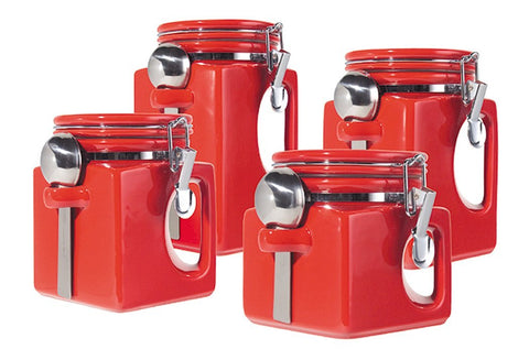 OGGI 4pc Ceramic Canisters (Red)