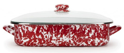 Lasagna Pan with Lid Red Swirl