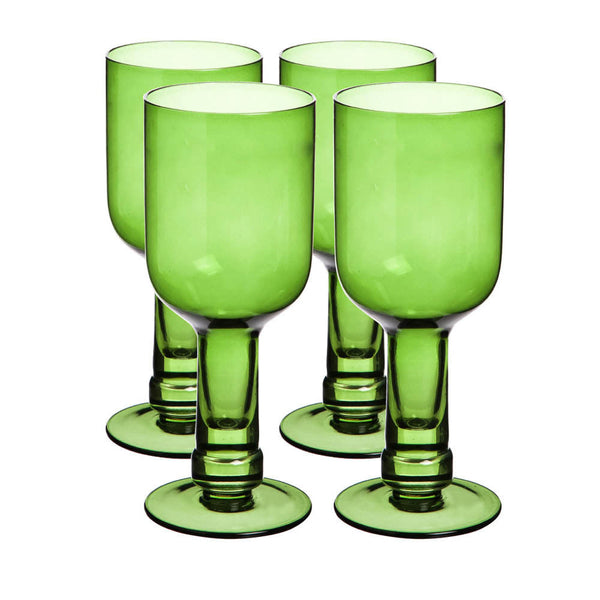 14oz Green Wine Glass Set/4