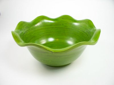 "8"" Green Wave Bamboo Bowl"
