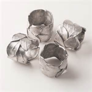 Napkin Ring Bay Leaf Silver Set of 4