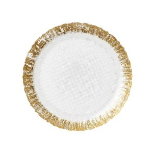 Ruffle Glass Gold Salad Plate