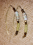 African Recycled glass watermelon bead bronze brass earring