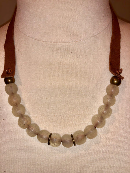 Clear White African Recycled trade bead strand necklace Krobo bead and suede leather Handmade