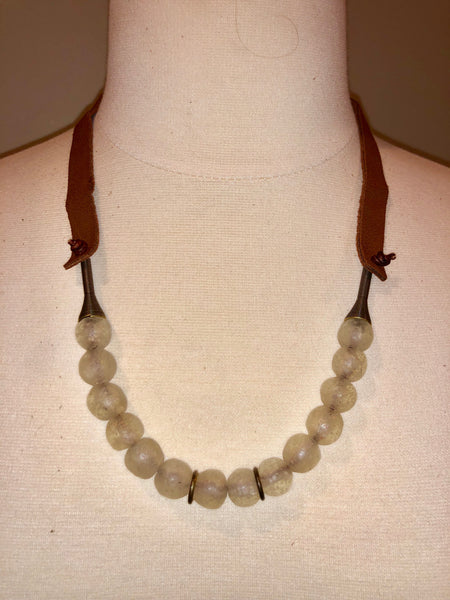 Clear White African Recycled trade bead strand necklace Krobo bead and funnel bead suede leather Handmade
