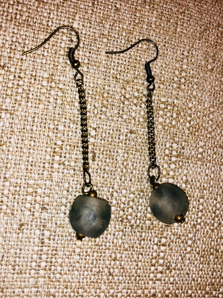 Antique brass bronze drop dangle statement earrings african recycled glass bead