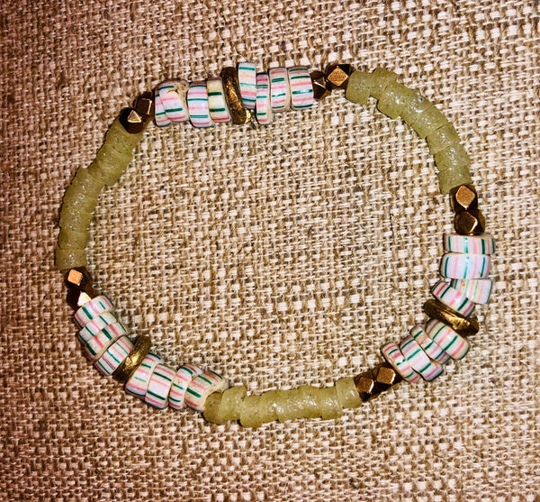African recycled glass bead watermelon bead bracelet
