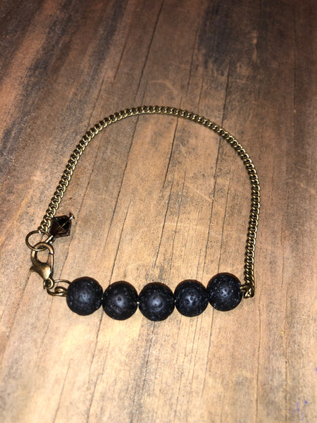 DIFFUSER bracelet- lava beads on bronze antique brass chain with SWAROVSKI cristal charm
