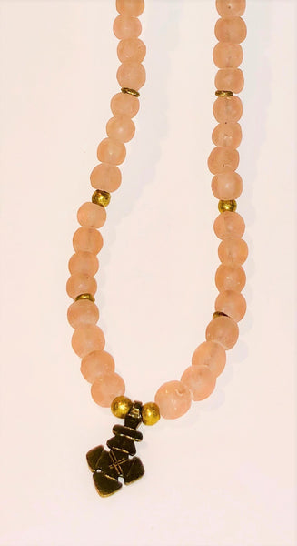 Pink Spring African recycled glass and Ethiopian brass and Naga Conch Shell bead leather necklace