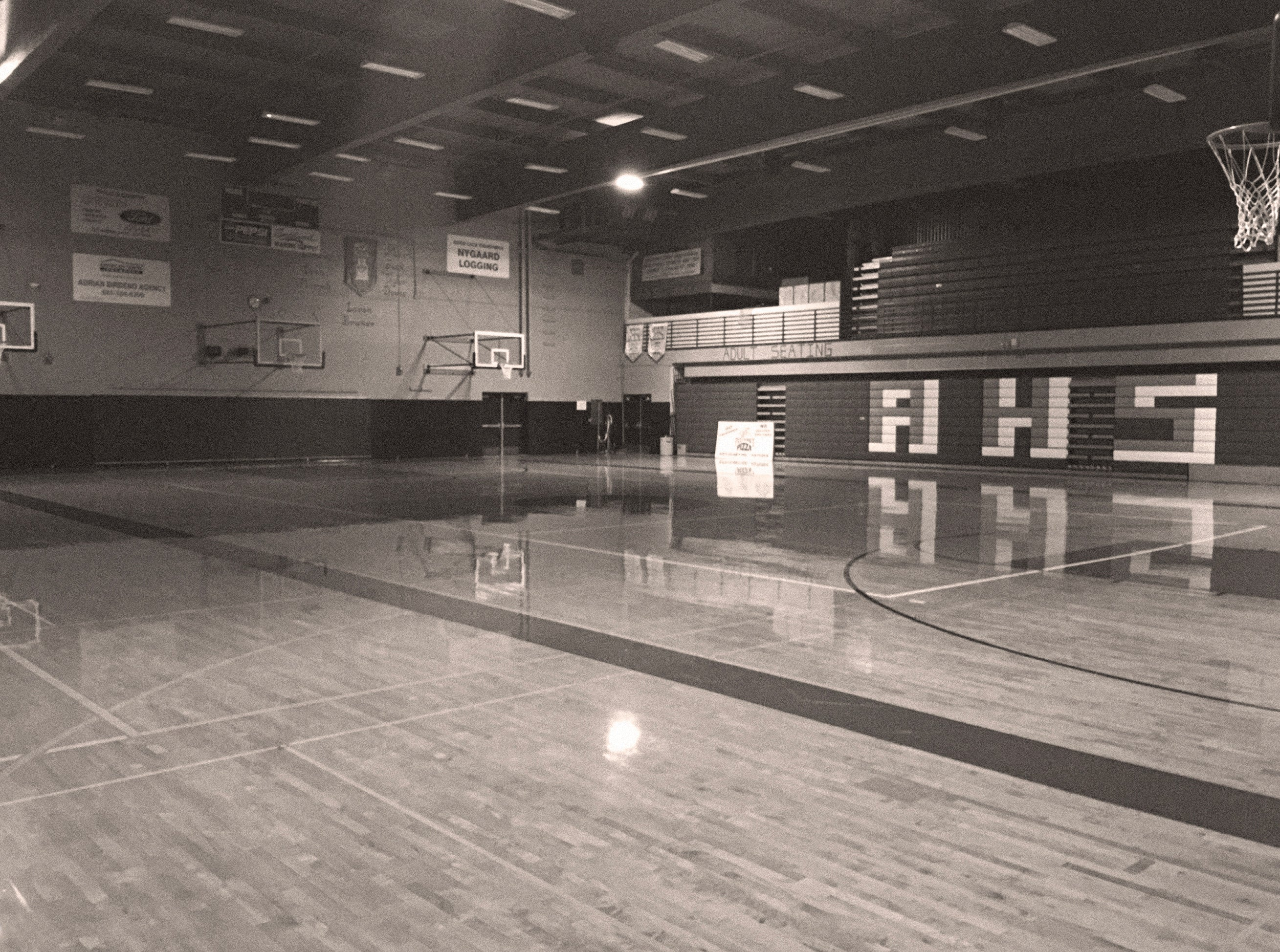 Empty high school gym