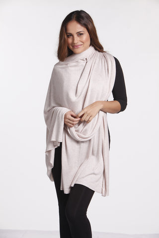 KC05A Bamboo Cashmere Wool Wrap Oatmeal