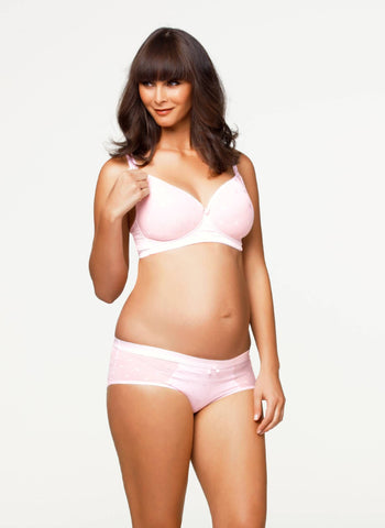 Mousse Padded Plunge Non Wire Nursing Bra- Pink