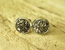 Load image into Gallery viewer, Charcoal Druzy Studs