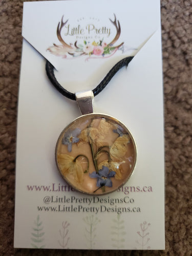 Pressed flower silver pendant