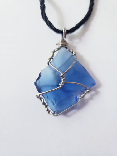 Wire wrap beach Glass Pendant