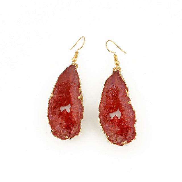 Red Stone Hollow Earrings