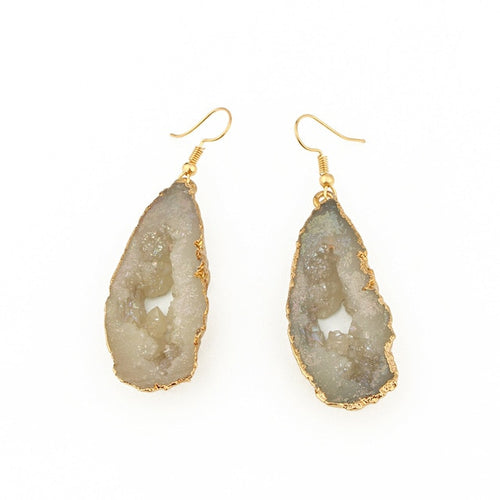 White Stone Hollow Earrings