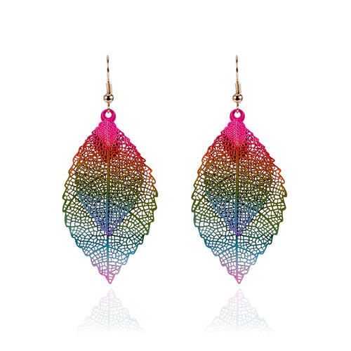 Rainbow Leaf Earrings