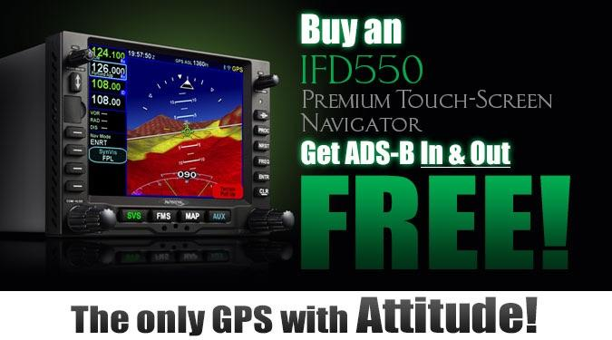 Avidyne IFD550 SBAS/COM/NAV/ARS/SVS/FLTA/WiFi/BT with Free AXP322 Xpdr w/ADS-B Out and RANGR ADS-B In