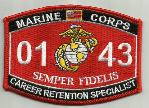 "USMC ""CAREER RETENTION SPC "" 0143 MOS MILITARY PATCH"