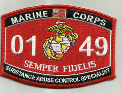 "USMC "" SUBSTANCE ABUSE CONTROL SPECIALIST"" 0149 MOS MILITARY PATCH"
