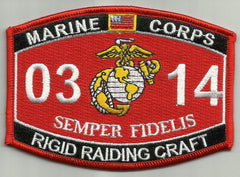 0314 RIGID RAIDING CRAFT USMC MOS Military Patch SEMPER FIDELIS