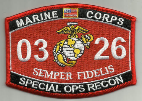 0326 SPECIAL OPS RECON USMC MOS MILITARY PATCH SEMPER FIDELIS
