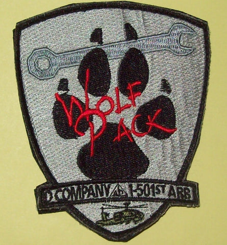 "ARMY D CO 1-501st AIRBORNE ""VELCRO"" - WOLF PACK - MILITARY PATCH"